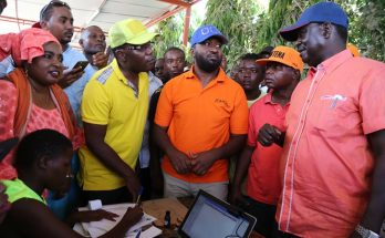 Raila Odinga and other CORD leaders during a voter registration sensitisation campaign in Mombasa