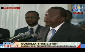 Uhuru in Mogadishu for the inauguration of new Somali President 1